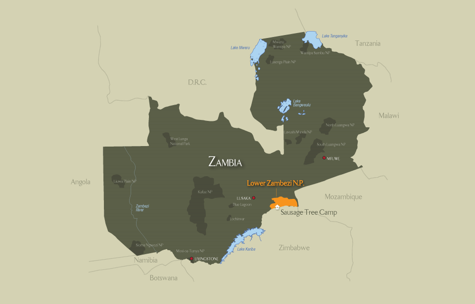Location of Lower Zambezi - Zambia
